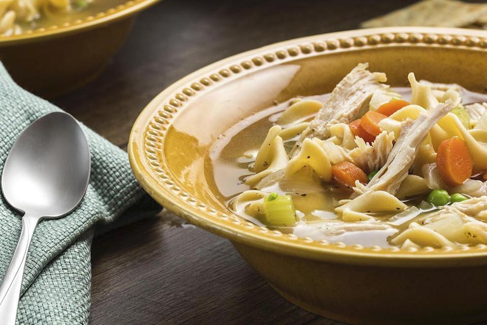 """<p>Turkey noodle soup is one of <a href=""""https://www.thedailymeal.com/cook/20-delicious-soup-recipes-are-perfect-fall-gallery?referrer=yahoo&category=beauty_food&include_utm=1&utm_medium=referral&utm_source=yahoo&utm_campaign=feed"""" rel=""""nofollow noopener"""" target=""""_blank"""" data-ylk=""""slk:the best soups to make in the fall"""" class=""""link rapid-noclick-resp"""">the best soups to make in the fall</a>. To taste this turkey noodle soup, cook powerhouse veggies in chicken broth, boil for three hours, add in turkey and noodles, cook for another 15 minutes and enjoy.</p> <p><a href=""""https://www.thedailymeal.com/recipes/turkey-noodle-soup?referrer=yahoo&category=beauty_food&include_utm=1&utm_medium=referral&utm_source=yahoo&utm_campaign=feed"""" rel=""""nofollow noopener"""" target=""""_blank"""" data-ylk=""""slk:For the Turkey Noodle Soup recipe, click here."""" class=""""link rapid-noclick-resp"""">For the Turkey Noodle Soup recipe, click here.</a></p>"""