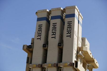 FILE PHOTO: The launching system is seen on an inactive version of Israel's air defense system, David's Sling, jointly developed with the United States, at a media event during a joint exercise in Hatzor air base near Tel Aviv February 25, 2016. REUTERS/Amir Cohen/File Photo