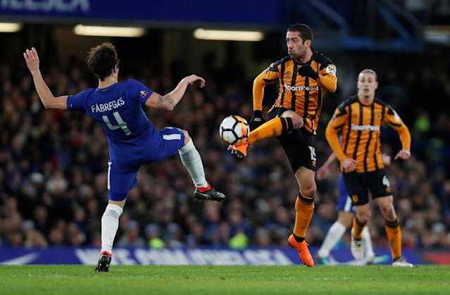 Soccer Football - FA Cup Fifth Round - Chelsea vs Hull City - Stamford Bridge, London, Britain - February 16, 2018 Chelsea's Cesc Fabregas in action with Hull City's Evandro Goebel Action Images via Reuters/Paul Childs