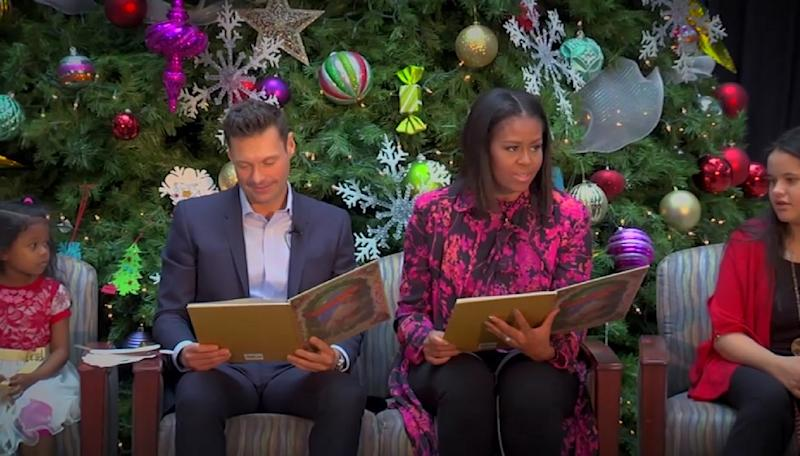 Ryan Seacrest and Michelle Obama read Christmas stories to children at the hospital, and it's making our hearts swell