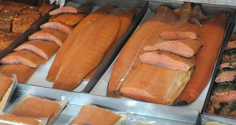 Salmon and other fish at the Fish Market near Bergen in Norway on September 12, 2014