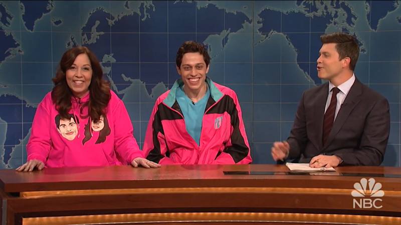 """Comedian Pete Davidson (center) appearing brought his mother, Amy Davidson, on """"Saturday Night Live."""""""
