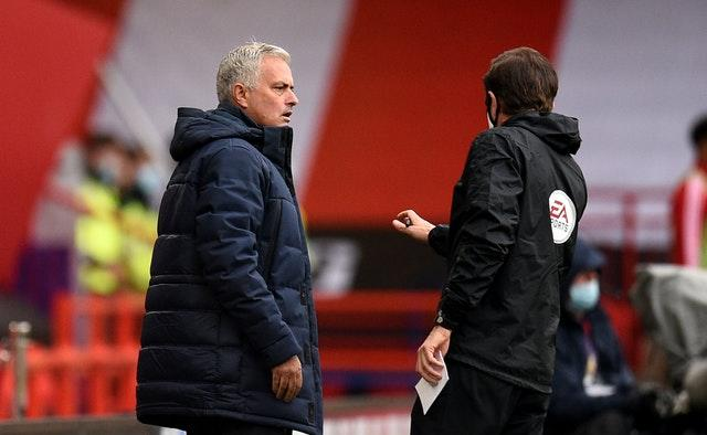 Tottenham manager Jose Mourinho reacts after VAR rules out a gal for his side at Sheffield United
