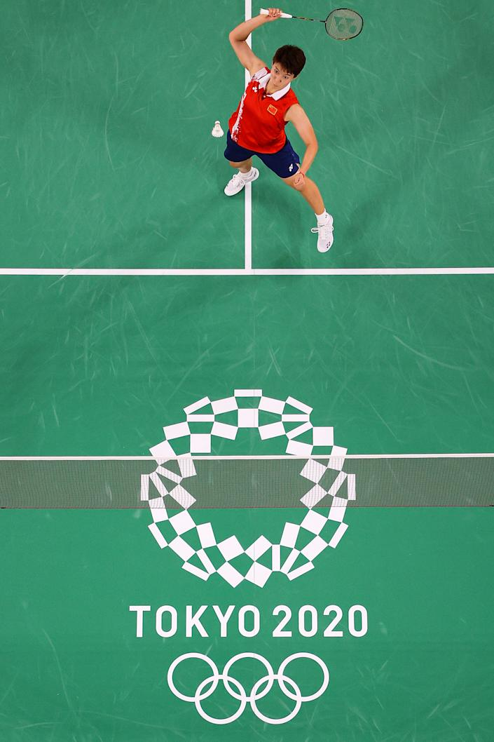 <p>CHOFU, JAPAN - JULY 27: Du Yue and Li Yin Hui(not in picture) of Team China compete against Lee Sohee and Shin Seungchan of Team South Korea during a Women's Doubles Group B match on day four of the Tokyo 2020 Olympic Games at Musashino Forest Sport Plaza on July 27, 2021 in Chofu, Tokyo, Japan. (Photo by Lintao Zhang/Getty Images)</p>
