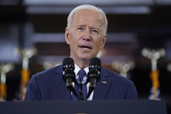 President Joe Biden will give a speech on infrastructure spending at the Carpenters Pittsburgh Training Center in Pittsburgh on Wednesday, March 31, 2021.  (AP photo / Evan Vucci)