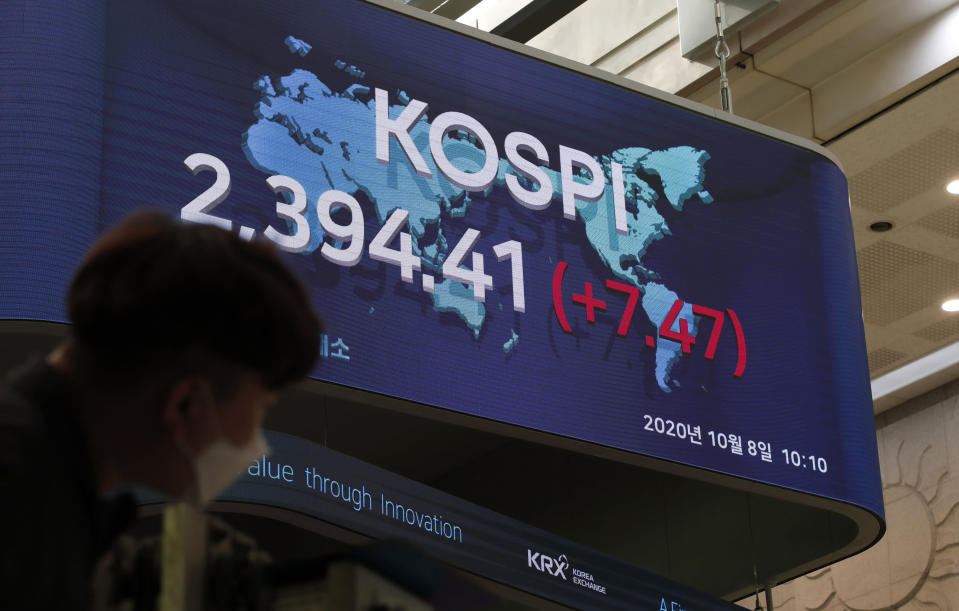 A man wearing a face mask stands near a screen showing the Korea Composite Stock Price Index (KOSPI) at the Korea Exchange in Seoul, South Korea, Thursday, Oct. 8, 2020. Asian shares were mostly higher Thursday on optimism that U.S. stimulus may be coming, as President Donald Trump appeared to reverse his earlier decision to halt talks on another economic rescue effort. (AP Photo/Lee Jin-man)