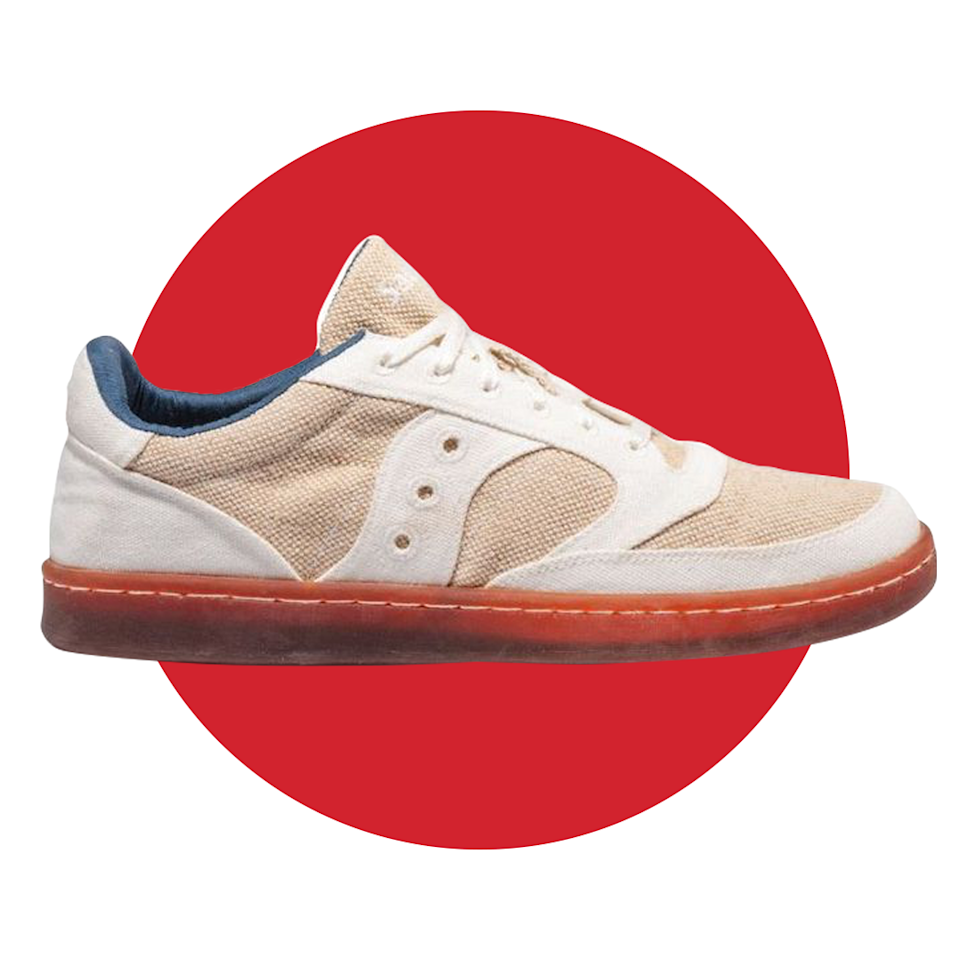 """<p><strong>Saucony</strong></p><p>saucony.com</p><p><strong>$130.00</strong></p><p><a href=""""https://go.redirectingat.com?id=74968X1596630&url=https%3A%2F%2Fwww.saucony.com%2Fen%2Fjazz-court-rfg%2F194917423097.html&sref=https%3A%2F%2Fwww.menshealth.com%2Ftechnology-gear%2Fg36954813%2Fmens-health-outdoor-awards-2021%2F"""" rel=""""nofollow noopener"""" target=""""_blank"""" data-ylk=""""slk:BUY IT HERE"""" class=""""link rapid-noclick-resp"""">BUY IT HERE</a></p><p>Of course, when you aren't venturing on the trails, a comfortable shoe to sport around the campgrounds is all you need. Saucony's sustainably-made Jazz Court features seven renewable materials including cotton, wool, rubber, gardenia, and beet. So while you're out enjoying Mother Earth, you can feel good knowing that these have a positive impact on the environment, too.</p>"""