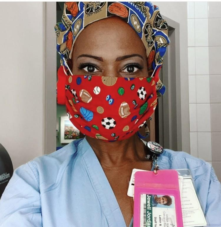 "Jewell Harris Jordan, a registered nurse in the labor and delivery department at Kaiser Permanente Oakland Medical Center, says the public's refusal to don a face covering in public feels like a ""slap in the face."" <span class=""copyright"">(Jewell Harris Jordan)</span>"