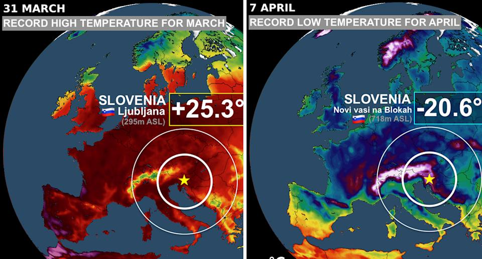 Slovenia saw high and low record breaking temperatures in the space of a week. Source: Scott Duncan/Twitter