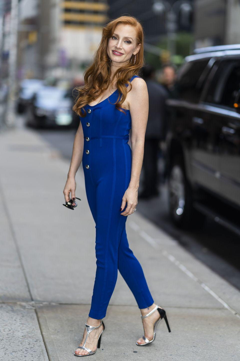 <p><strong>15 September</strong></p><p>The previous day, the actress was seen arriving for an appearance on The Late Show with Stephen Colbert wearing an electric blue David Koma jumpsuit. </p>
