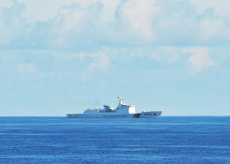 A Chinese coastguard ship during the joint search and rescue exercise between Philippine and US coastguards near Scarborough shoal, in the South China Sea on May 14, 2019.