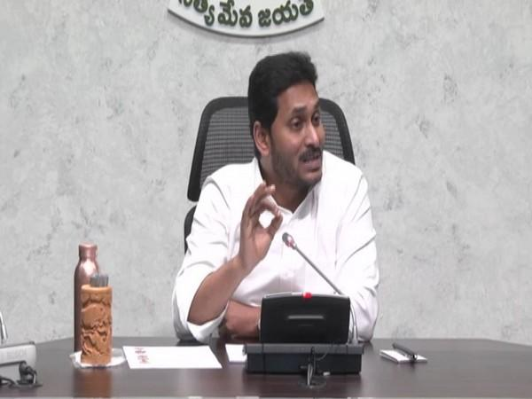 Andhra Pradesh Chief Minister YS Jagan Mohan Reddy during a review meeting on Friday. (Photo/ANI)