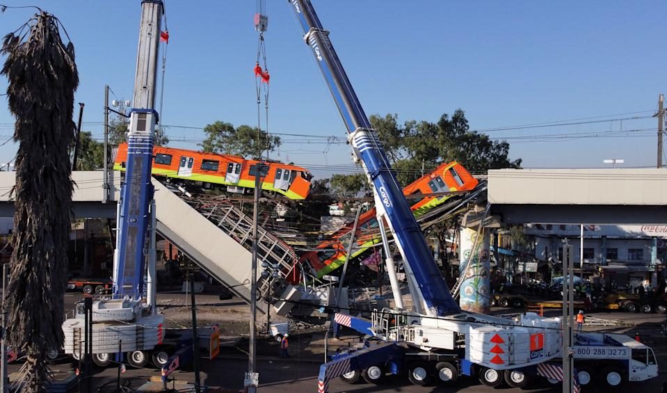 <p>The metro overpass in Mexico City partially collapsed on Monday night</p> (REUTERS)