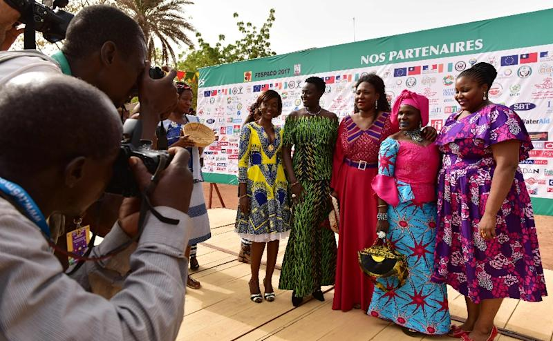 """The women behind """"Borders"""" (""""Frontieres"""") arriving at Fespaco. From left: Actresses Naki Sy Savane and Unwana Udobang; director Apolline Traore; actresses Adizetou Sidi and Amelie Mbaye"""