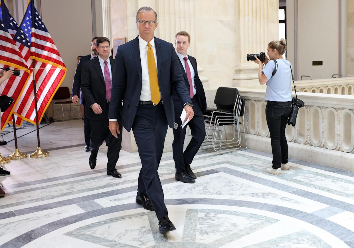 Senate Minority Whip John Thune (R-SD) arrives for a Senate Republican Policy luncheon at the Russell Senate Office Building on May 18, 2021 in Washington, DC. (Kevin Dietsch/Getty Images)
