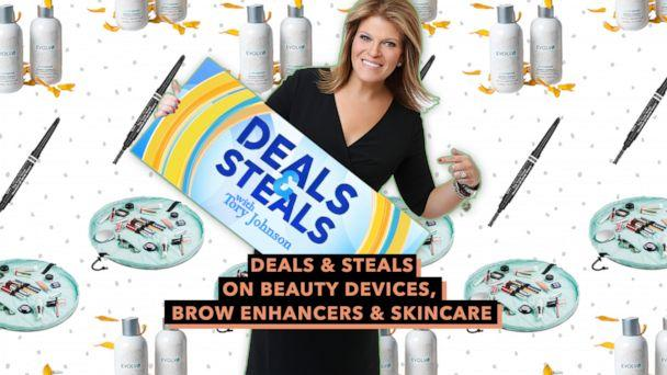 PHOTO: Deals & Steals on beauty devices, brow enhancers & skincare (ABC News Photo Illustration, Billion Dollar Brows, Evolvh, Lay n Go)
