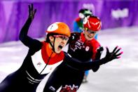 <p>Suzanne Schulting of the Netherlands celebrates winning gold in the Ladies' 1,000m Short Track Speed Skating Final A on day 13 of the 2018 Winter Olympic Games in South Korea, February 22, 2018.<br> (Photo by Maddie Meyer/Getty Images) </p>