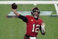 Tampa Bay Buccaneers quarterback Tom Brady throws during the first half of an NFL football game against the New York Giants, Monday, Nov. 2, 2020, in East Rutherford, N.J. This has been a year for Tampa Bay sports like no other, though the area's three successful professional teams haven't had a chance to truly capitalize on the boom and connect with re-energized fan bases. It has been — and continues to be —- a missed opportunity because of the coronavirus pandemic.(AP Photo/Corey Sipkin, File)