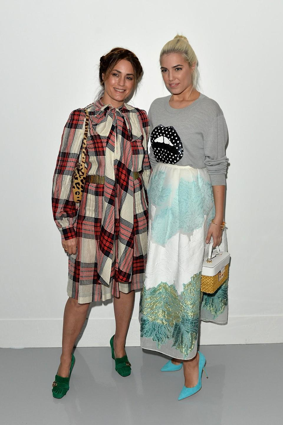 <p>Yasmin and Amber Le Bon sported contrasting printed looks. <i>[Photo: Getty]</i> </p>