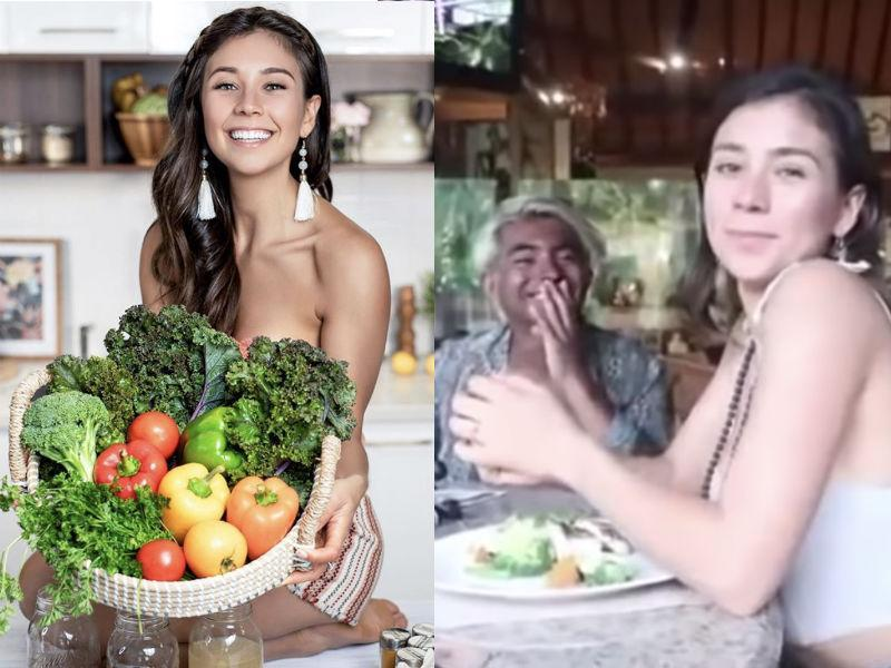 Yovana Ayres preaches about eating plant-based, but was recently caught eating fish. (Photo: Instagram/YouTube)