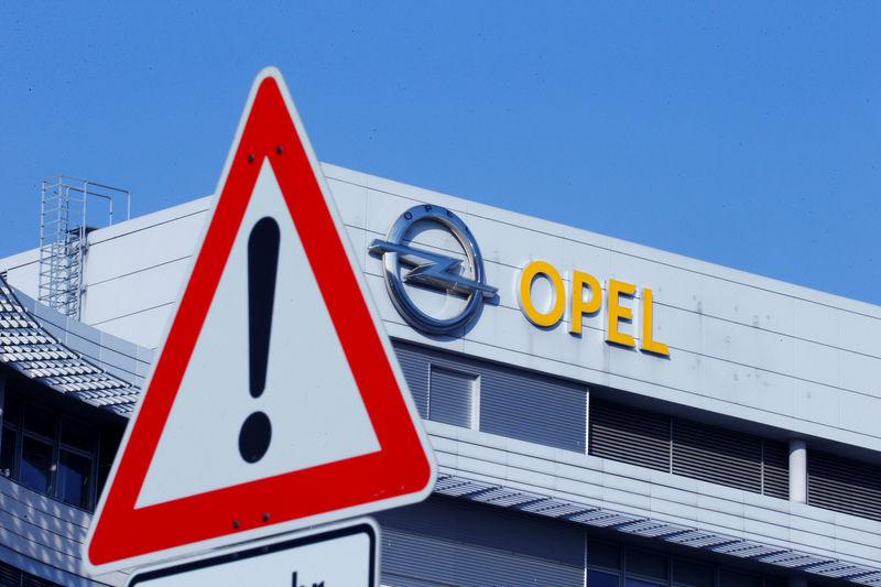 The logo of German car manufacturer Opel is pictured at the company headquarters in Ruesselsheim