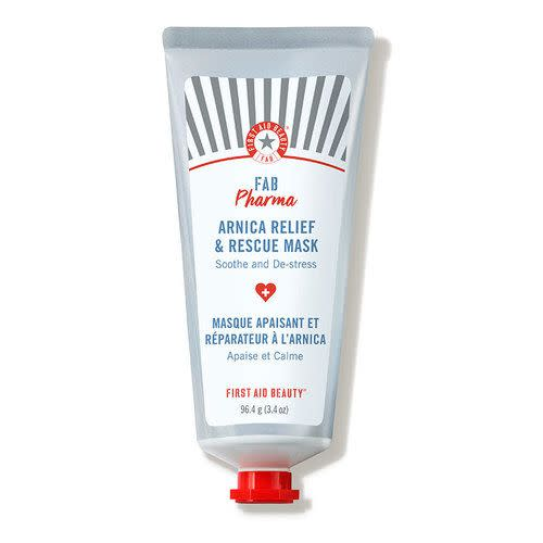 """<p><strong>First Aid Beauty</strong></p><p>dermstore.com</p><p><a href=""""https://go.redirectingat.com?id=74968X1596630&url=https%3A%2F%2Fwww.dermstore.com%2Fproduct_Pharma%2BArnica%2BRelief%2BRescue%2BMask_83692.htm&sref=https%3A%2F%2Fwww.marieclaire.com%2Fbeauty%2Fg35685017%2Fdermstore-beauty-refresh-sale%2F"""" rel=""""nofollow noopener"""" target=""""_blank"""" data-ylk=""""slk:SHOP IT"""" class=""""link rapid-noclick-resp"""">SHOP IT</a></p><p><strong><del>$32</del> $26 (20% off)</strong></p><p>This sensitive skin-friendly face mask works to remedy the root of what's causing many people's """"<a href=""""https://www.elle.com/beauty/makeup-skin-care/a32344537/maskne-is-the-new-acne-from-face-masks/"""" rel=""""nofollow noopener"""" target=""""_blank"""" data-ylk=""""slk:maskne"""" class=""""link rapid-noclick-resp"""">maskne</a>"""": Dehydration. If your skin is feeling extra dull or dry recently, apply a generous amount of this twice a week to help to soothe and calm down your skin. </p>"""
