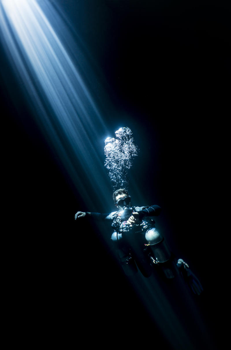 A diver in an underwater cave in the Riviera Maya, Mexico. (Martin Broen/Caters News)