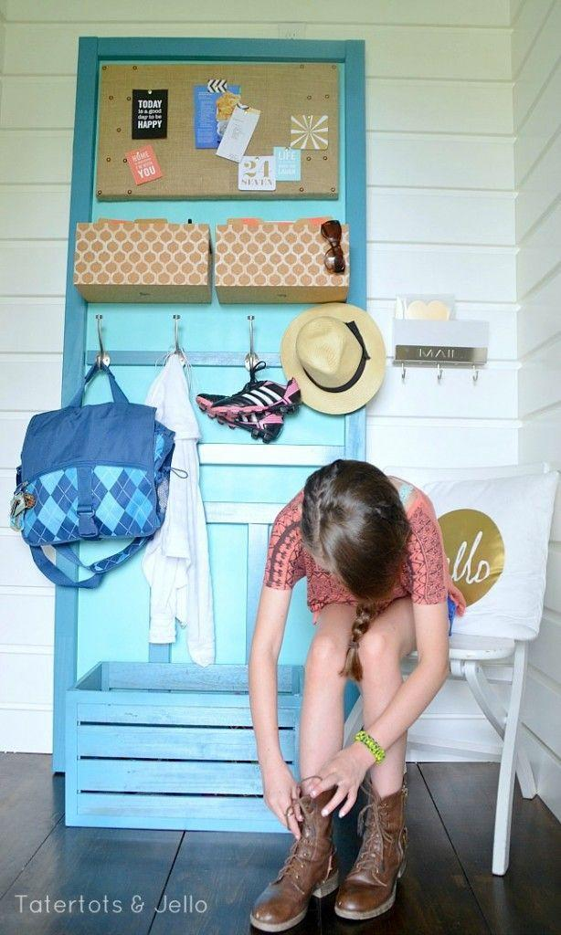 """<p>Turn two old doors into a portable organization station for all your kids' bags and shoes with the help of some wood glue, hooks, paint, bins, and a bulletin board. </p><p><strong><em><a href=""""https://tatertotsandjello.com/make-diy-back-school-organization-station/"""" rel=""""nofollow noopener"""" target=""""_blank"""" data-ylk=""""slk:Get the tutorial at Tatertots & Jello"""" class=""""link rapid-noclick-resp"""">Get the tutorial at Tatertots & Jello</a>. </em></strong></p><p><a class=""""link rapid-noclick-resp"""" href=""""https://www.amazon.com/Elmers-E7310-Carpenters-Interior-Exterior/dp/B0045PXPH6?tag=syn-yahoo-20&ascsubtag=%5Bartid%7C10070.g.37133630%5Bsrc%7Cyahoo-us"""" rel=""""nofollow noopener"""" target=""""_blank"""" data-ylk=""""slk:SHOP WOOD GLUE"""">SHOP WOOD GLUE</a></p>"""