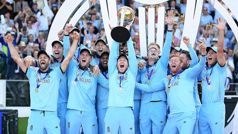 England celebrate winning their first Cricket World Cup.