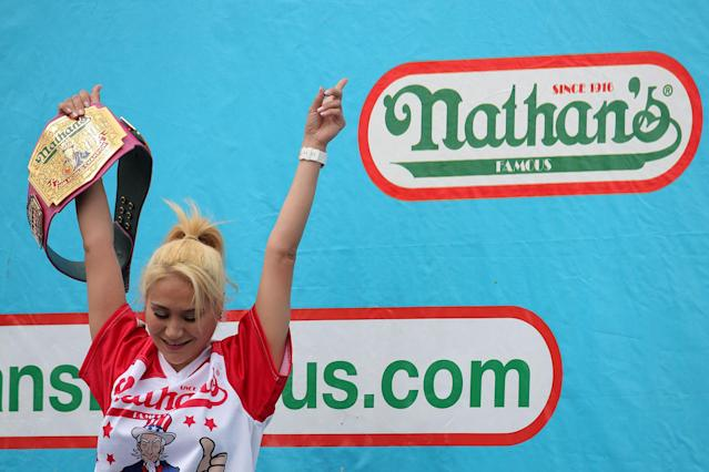 <p>Miki Sudo enters the arena before competing in Nathan's Famous Fourth of July International Hot Dog-Eating Contest at Coney Island in Brooklyn, New York City, U.S., July 4, 2017. (Andrew Kelly/Reuters) </p>