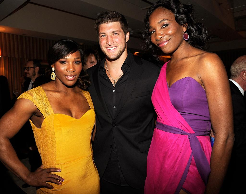 Tennis aces Serena and Venus Williams (both in Christiane King) hung out with fellow sports superstar, Broncos quarterback Tim Tebow.