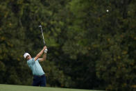 Jordan Spieth hits from the fifth fairway during the second round of the Masters golf tournament on Friday, April 9, 2021, in Augusta, Ga. (AP Photo/Matt Slocum)
