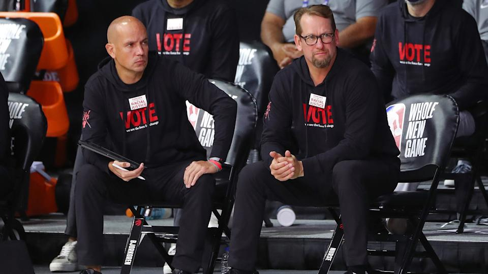 Nick Nurse shot down a report that claimed Nate Bjorkgren used to police access to him with players and staff. (Photo by Joe Murphy/NBAE via Getty Images)