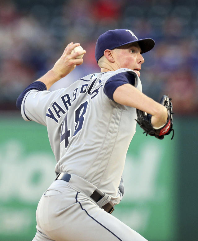 Tampa Bay Rays starter Ryan Yarbrough delivers a pitch during the first inning against the Texas Rangers in a baseball game Tuesday, Sept. 10, 2019, in Arlington, Texas. (AP Photo/Richard W. Rodriguez)