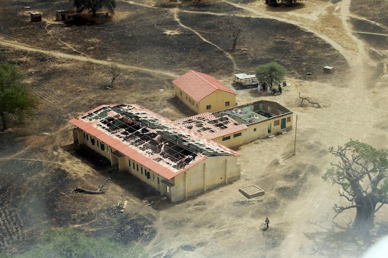 An arial view on March 5, 2015 of the burnt-out classrooms of a school in Chibok, Nigeria, from where Boko Haram Islamist fighters seized 276 girls on the evening of April 14, 2014
