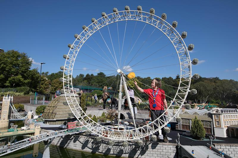Stanley inspects one of the attractions at Legoland Windsor.  (PA Wire/PA Images)