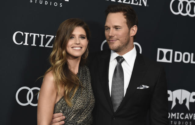"""Katherine Schwarzenegger shared a sweet tribute to her husband, Chris Pratt, on Instagram, writing that she was thankful """"to be married to someone who thinks of kind ways to make the world a better place."""" (Photo by Jordan Strauss/Invision/AP, File)"""