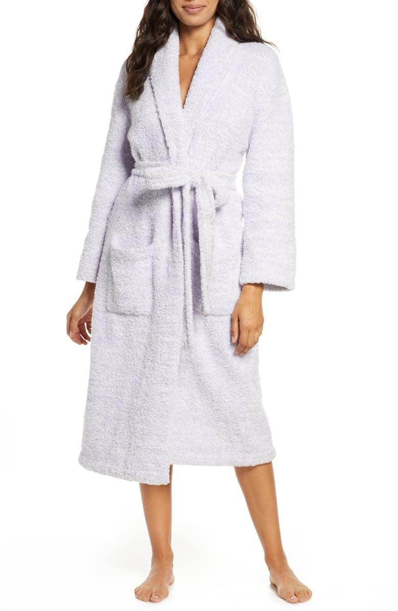 <p>Made with 100 percent polyester, the <span>Barefoot Dreams CozyChic Robe</span> ($99) is oh so soft.</p>