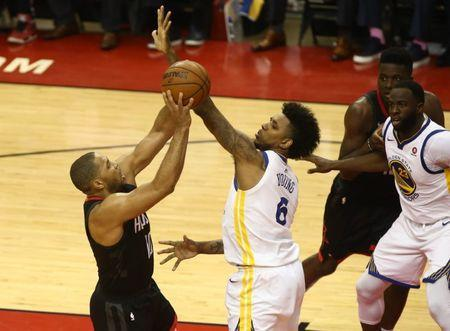 May 16, 2018; Houston, TX, USA; Golden State Warriors guard Nick Young (6) defends against Houston Rockets guard Eric Gordon (10) during the second half in game two of the Western conference finals of the 2018 NBA Playoffs at Toyota Center. Mandatory Credit: Troy Taormina-USA TODAY Sports