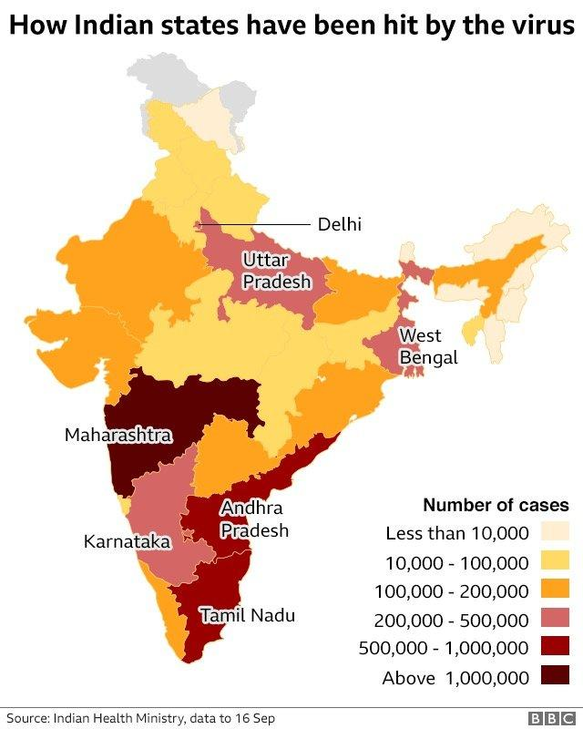 Map of Covid-19 cases in India