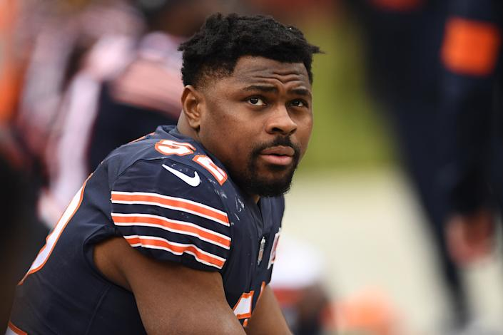 Khalil Mack of the Chicago Bears watches during a game against the New York Giants at Soldier Field on Nov. 24, 2019 in Chicago, Illinois. | Stacy Revere—Getty Images