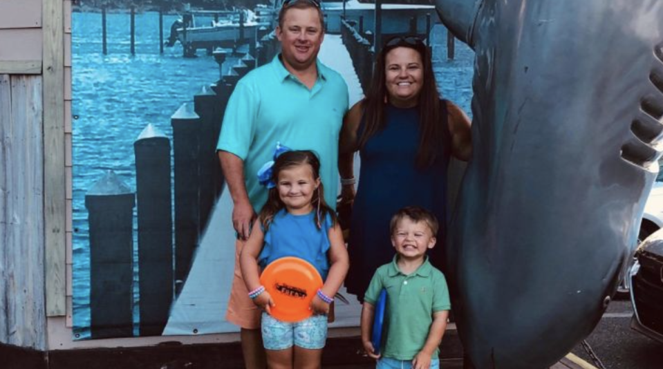 Addie and Baylor Kirchgessner, who were killed at a Florida miniature golf course after being struck by a ute, pictured with their parents.