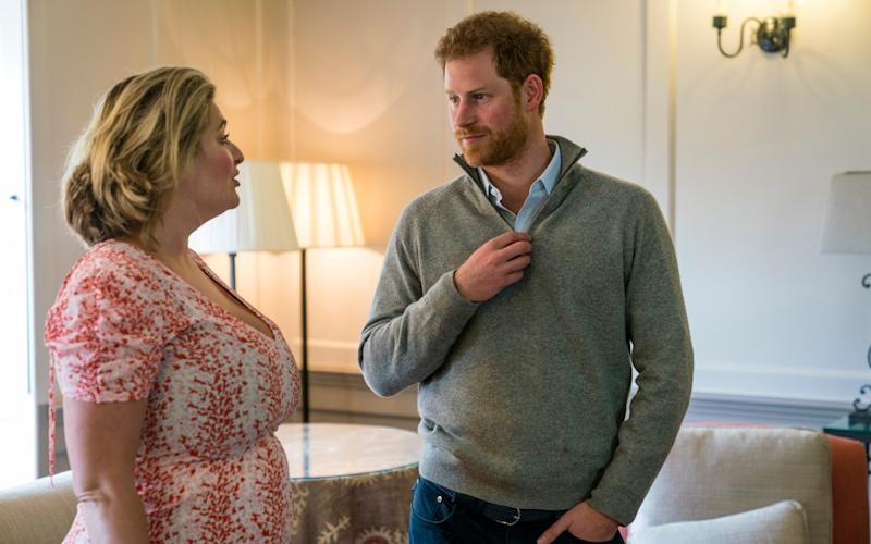 Prince Harry for DT Features. Picture shows Bryony Gordon and Prince Harry meeting to do a podcast interview