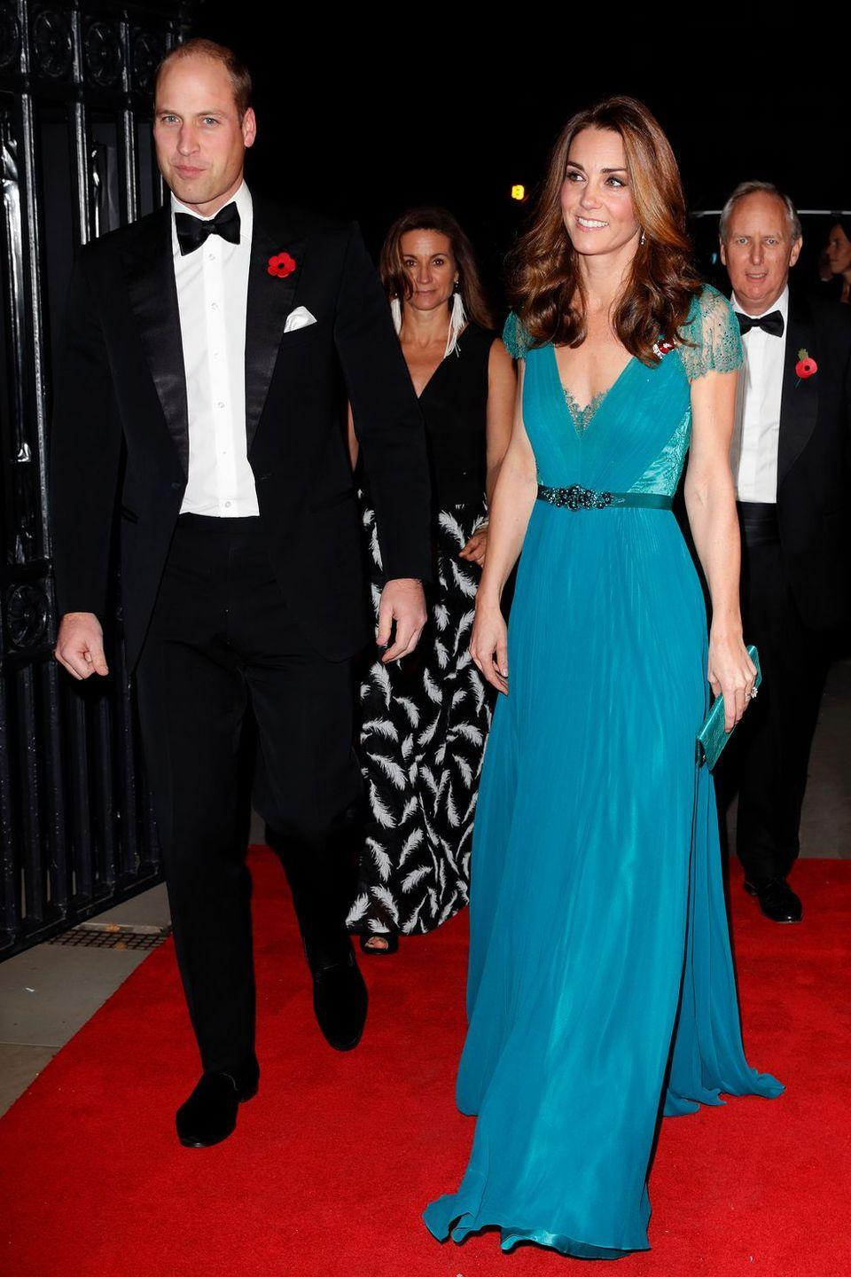 <p>Kate first wore this Jenny Packham dress in 2012, but brought it back out for the Tusk Conservation Awards. </p>
