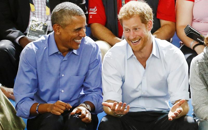The Prince and former U.S. President at the Invictus Games last month. - Reuters