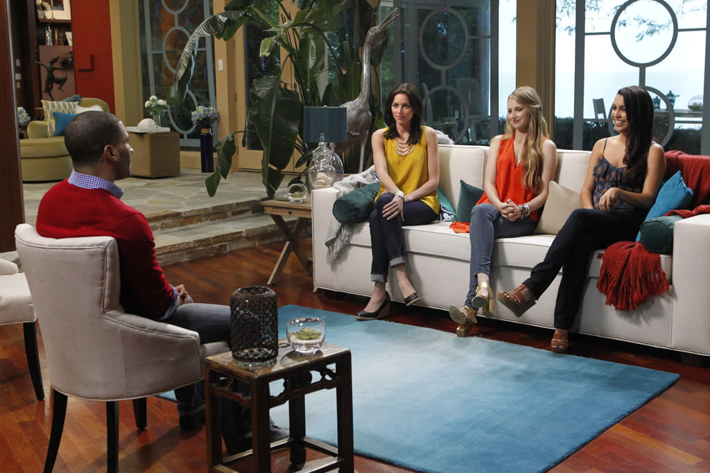 """Rachel Harley, April Francis, and Libby Lopez meet a potential date on the new reality series """"3."""""""