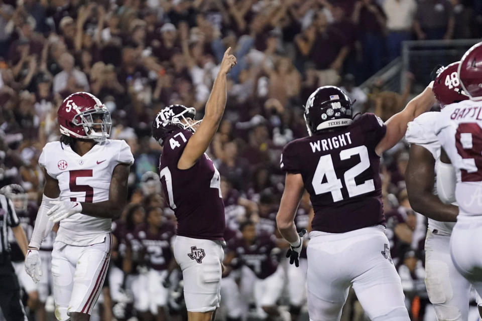 Texas A&M's Seth Small (47) reacts after making a field goal to defeat Alabama, at the end of an NCAA college football game Saturday, Oct. 9, 2021, in College Station, Texas. (AP Photo/Sam Craft)