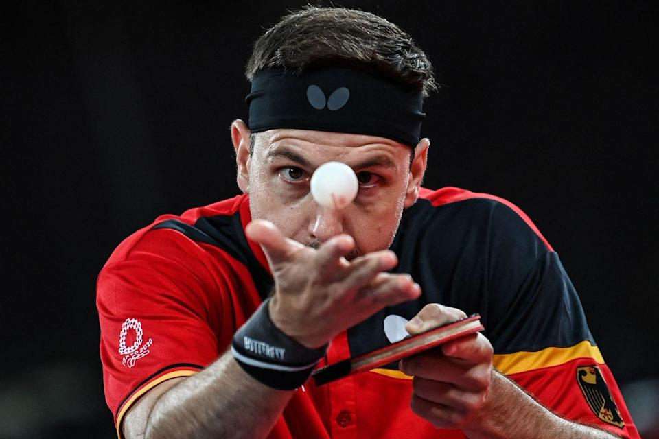 <p>Germany's Timo Boll has his eyes on the prize while serving to South Korea's Jeoung Young-sik during his men's singles round in table tennis.</p>