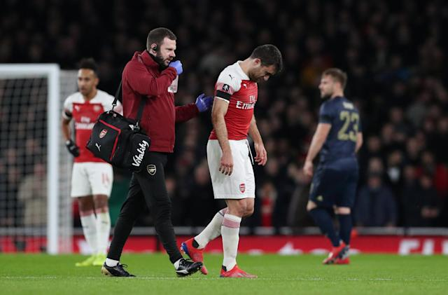 Arsenal confirm Sokratis blow with Laurent Koscielny still being assessed after jaw injury