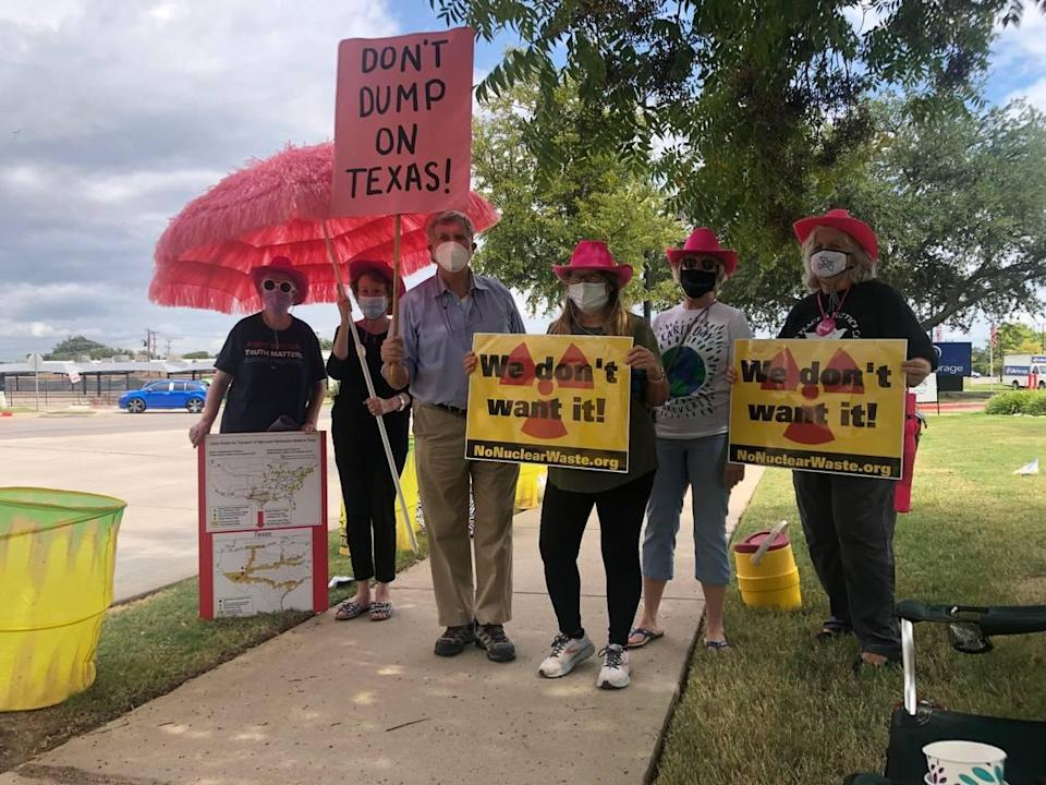 North Texans gathered in front of the Nuclear Regulatory Commission building in Arlington earlier this month to protest a plan bringing waste to the state. A federal permit was utlimately approved.